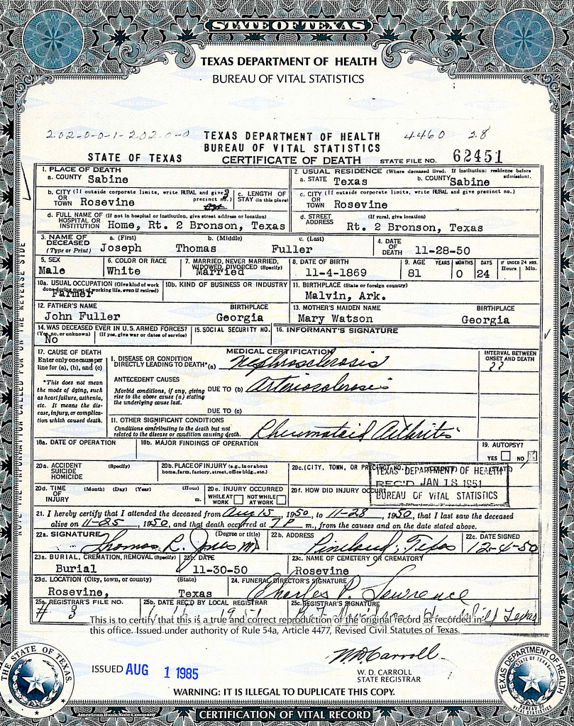 Documents fuller joseph thomas texas death certificate strong documents fuller joseph thomas texas death certificate strong mclemore ancestry xflitez Images