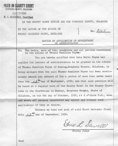 Documents payne thomas h letters of administration 1950 based on documents payne thomas h letters of administration 1950 based on presumed death strong mclemore ancestry spiritdancerdesigns Gallery