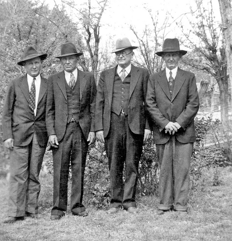 Strong Brothers in hats, Medicine Park Reunion, Oklahoma, around 1941